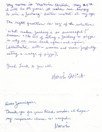 Letter from Marvin Ehrlich