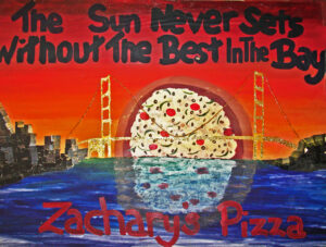 golden gate pizza sunset
