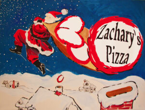 Santa & Pizza on roof, Cindy Chan