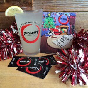 pint glass, xmas card, gift card